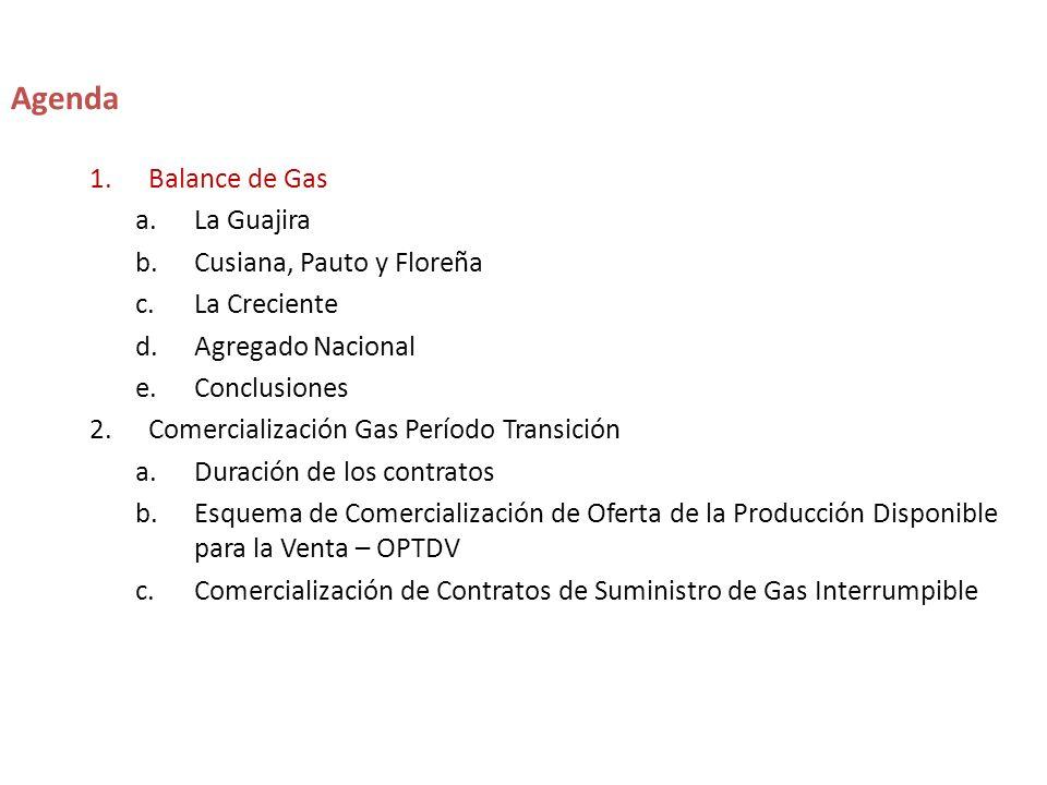 1.Balance de Gas a.La Guajira b.Cusiana, Pauto y Floreña c.La Creciente d.Agregado Nacional e.Conclusiones 2.Comercialización Gas Período Transición a.Duración de los contratos b.Esquema de Comercialización de Oferta de la Producción Disponible para la Venta – OPTDV c.Comercialización de Contratos de Suministro de Gas Interrumpible Agenda