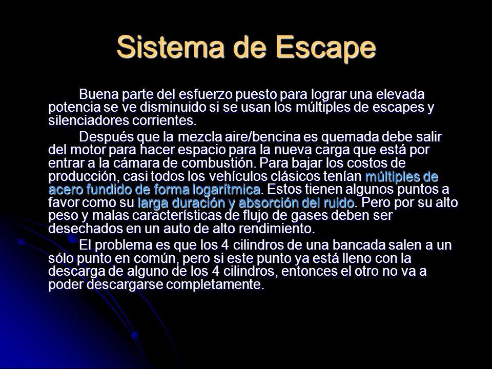 Sistema de Escape Buena parte del esfuerzo puesto para lograr una elevada potencia se ve disminuido si se usan los múltiples de escapes y silenciadores corrientes.