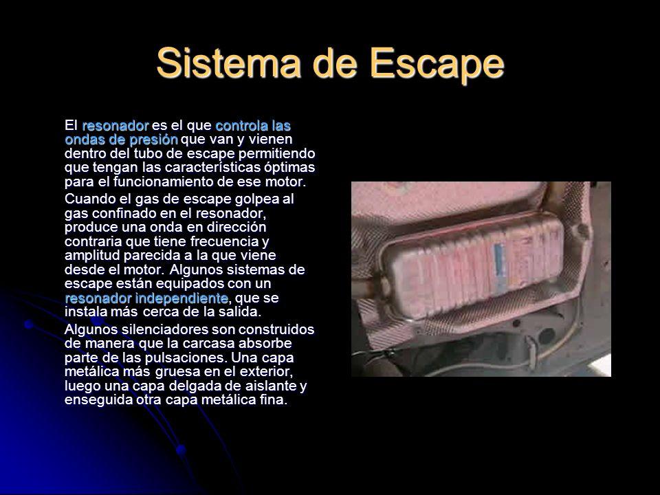 Sistema de Escape El resonador es el que controla las ondas de presión que van y vienen dentro del tubo de escape permitiendo que tengan las características óptimas para el funcionamiento de ese motor.