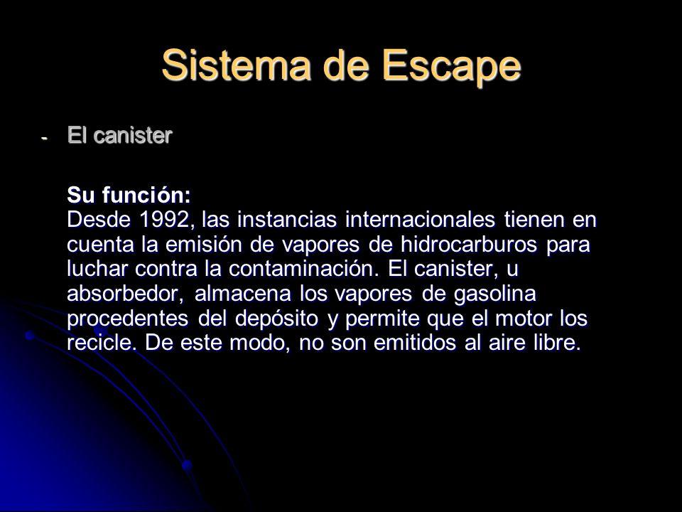 Sistema de Escape - El canister Su función: Desde 1992, las instancias internacionales tienen en cuenta la emisión de vapores de hidrocarburos para luchar contra la contaminación.