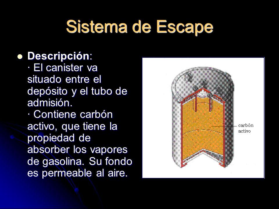Sistema de Escape Descripción: · El canister va situado entre el depósito y el tubo de admisión.