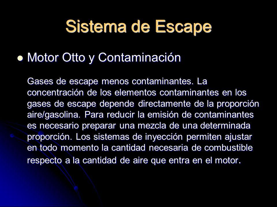 Sistema de Escape Motor Otto y Contaminación Motor Otto y Contaminación Gases de escape menos contaminantes.