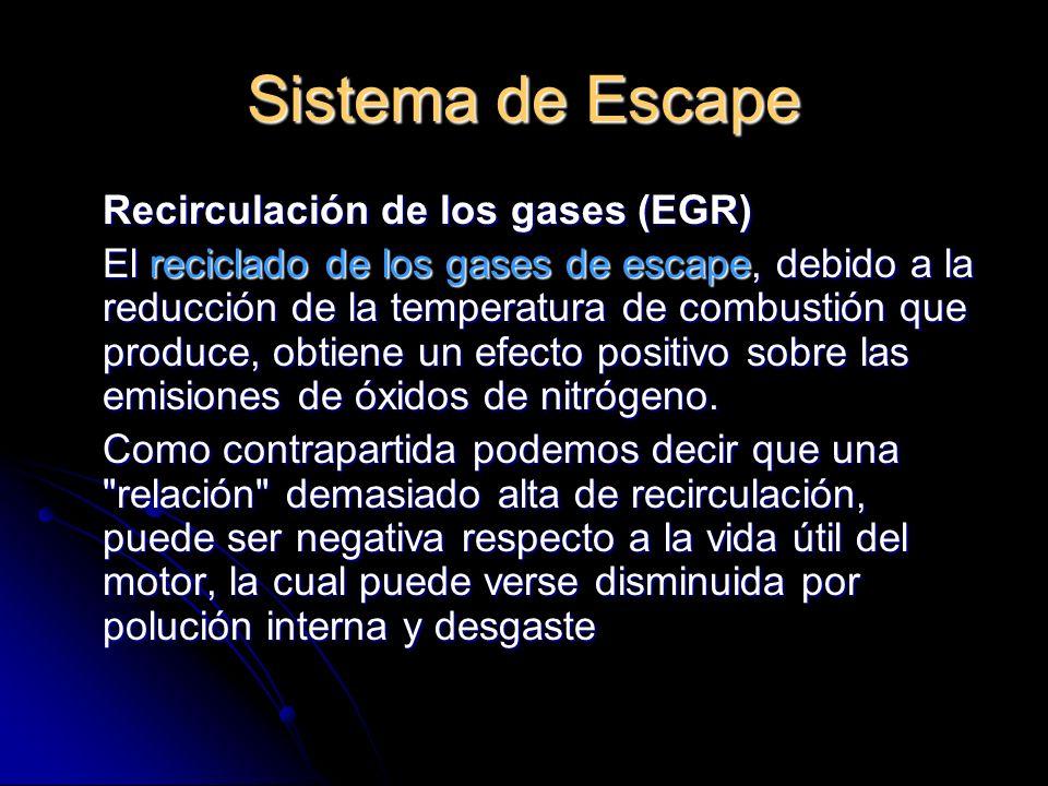 Sistema de Escape Recirculación de los gases (EGR) El reciclado de los gases de escape, debido a la reducción de la temperatura de combustión que produce, obtiene un efecto positivo sobre las emisiones de óxidos de nitrógeno.