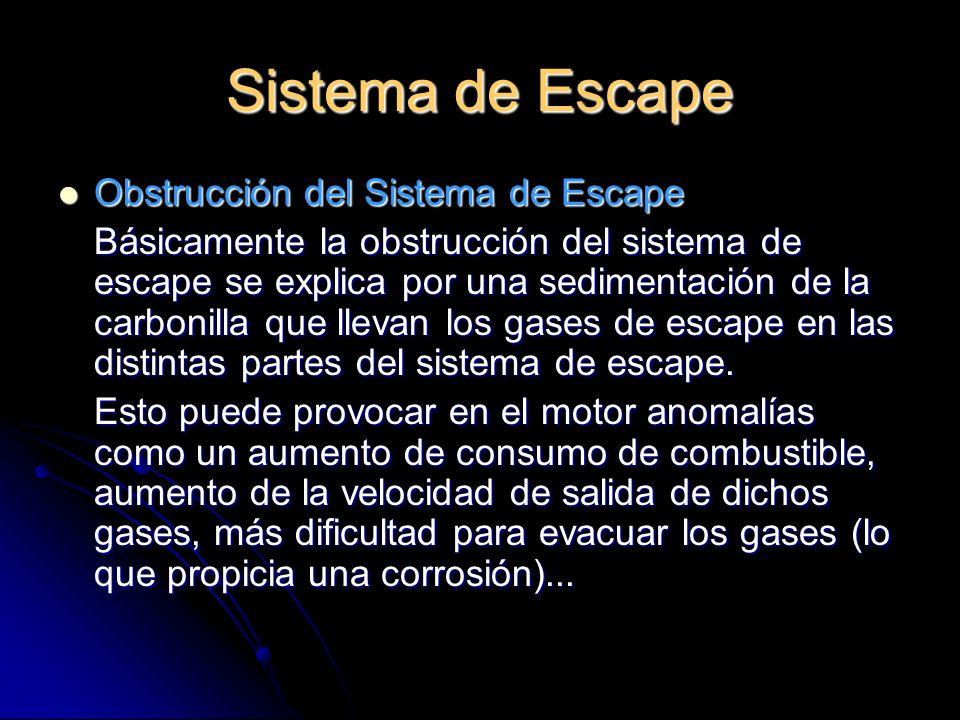 Sistema de Escape Obstrucción del Sistema de Escape Obstrucción del Sistema de Escape Básicamente la obstrucción del sistema de escape se explica por una sedimentación de la carbonilla que llevan los gases de escape en las distintas partes del sistema de escape.