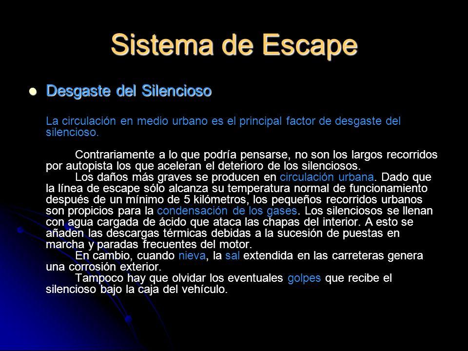 Sistema de Escape Desgaste del Silencioso Desgaste del Silencioso La circulación en medio urbano es el principal factor de desgaste del silencioso.