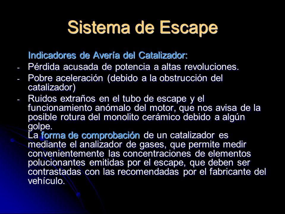 Sistema de Escape Indicadores de Avería del Catalizador: - Pérdida acusada de potencia a altas revoluciones.
