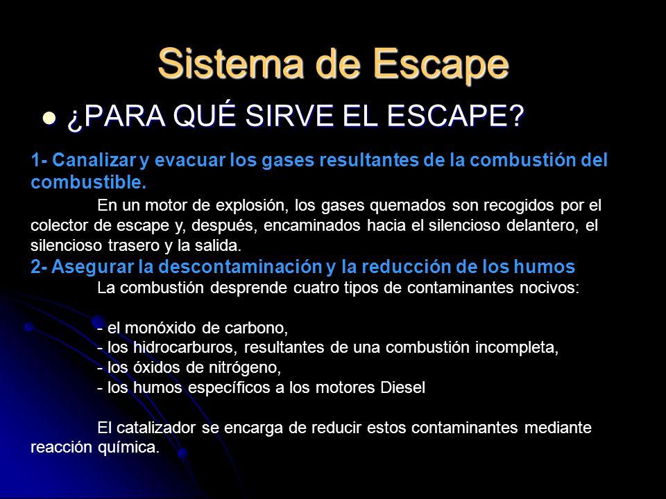 Sistema de Escape Tipos: Tipos: - Oxidante: un solo monolito cerámico que permite la oxidación del CO y de los hidrocarburos.