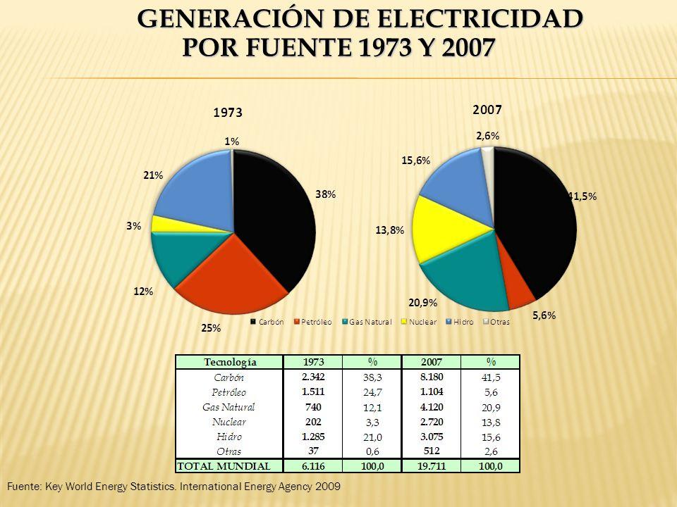 GENERACIÓN DE ELECTRICIDAD POR FUENTE 1973 Y 2007 Fuente: Key World Energy Statistics. International Energy Agency 2009