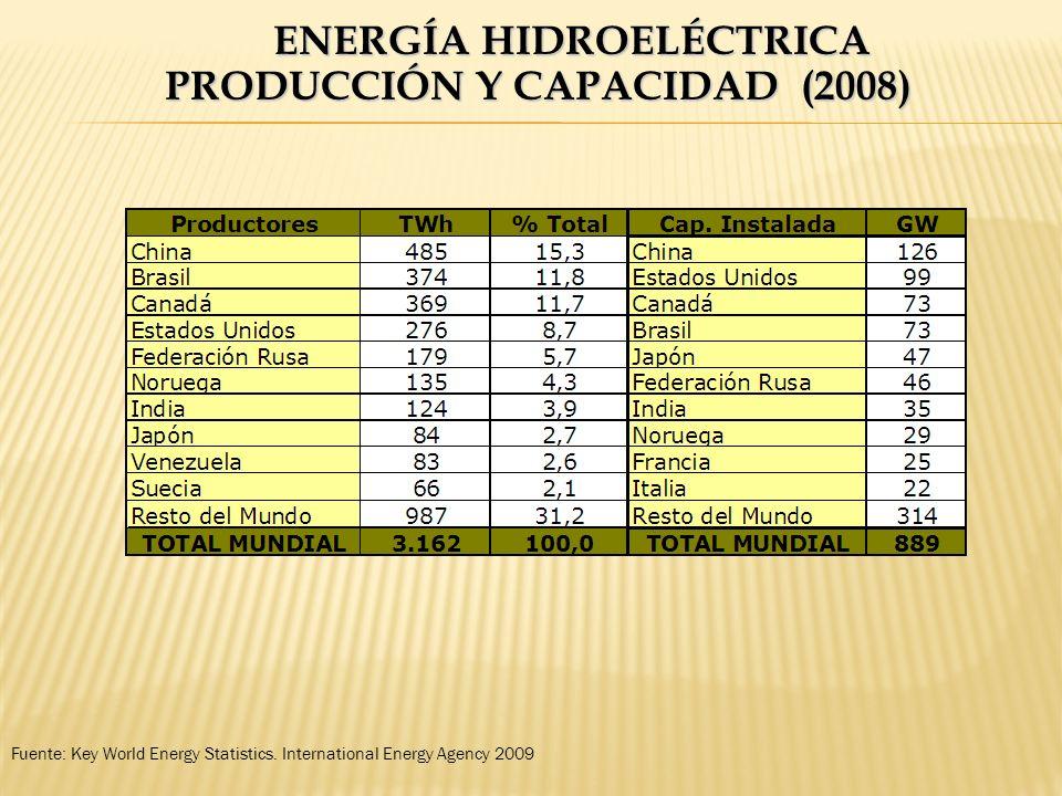 ENERGÍA HIDROELÉCTRICA PRODUCCIÓN Y CAPACIDAD (2008) Fuente: Key World Energy Statistics. International Energy Agency 2009