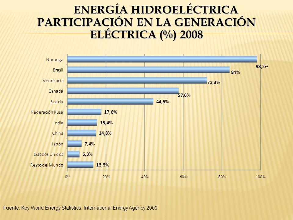 ENERGÍA HIDROELÉCTRICA PARTICIPACIÓN EN LA GENERACIÓN ELÉCTRICA (%) 2008 Fuente: Key World Energy Statistics. International Energy Agency 2009