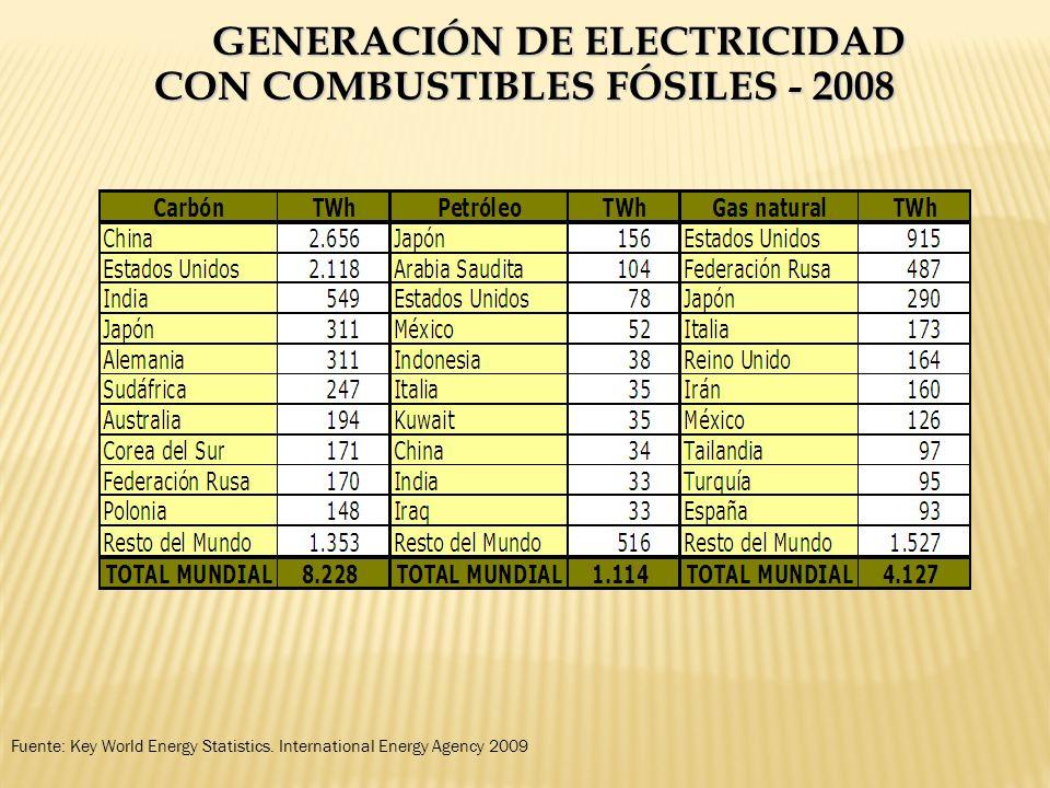 GENERACIÓN DE ELECTRICIDAD CON COMBUSTIBLES FÓSILES - 2008 Fuente: Key World Energy Statistics. International Energy Agency 2009