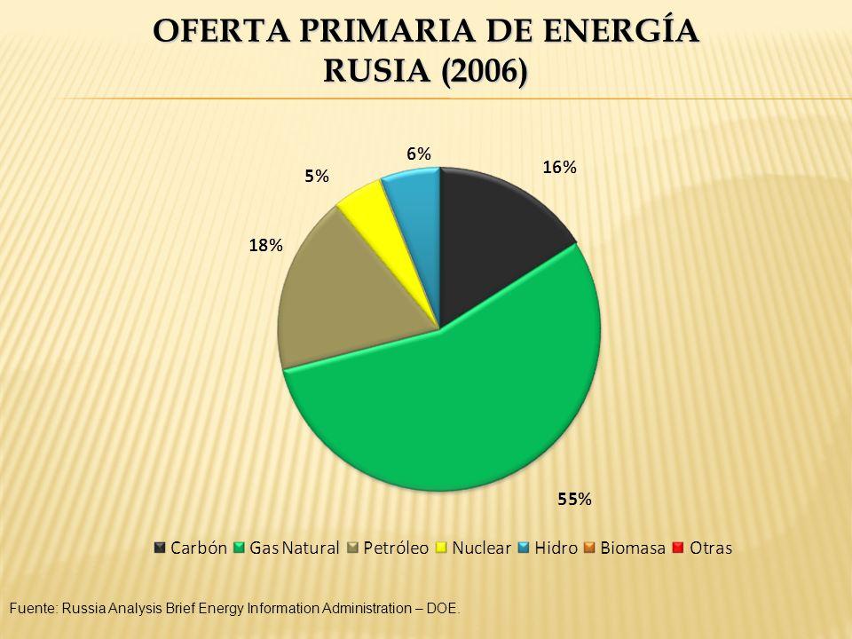 OFERTA PRIMARIA DE ENERGÍA RUSIA (2006) Fuente: Russia Analysis Brief Energy Information Administration – DOE.