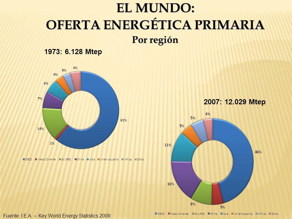 EL MUNDO: OFERTA ENERGÉTICA PRIMARIA Por región Fuente: I.E.A. – Key World Energy Statistics 2009 1973: 6.128 Mtep 2007: 12.029 Mtep