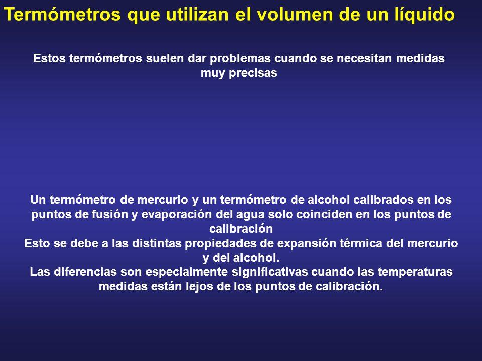 Termómetros que utilizan el volumen de un líquido Estos termómetros suelen dar problemas cuando se necesitan medidas muy precisas Un termómetro de mer