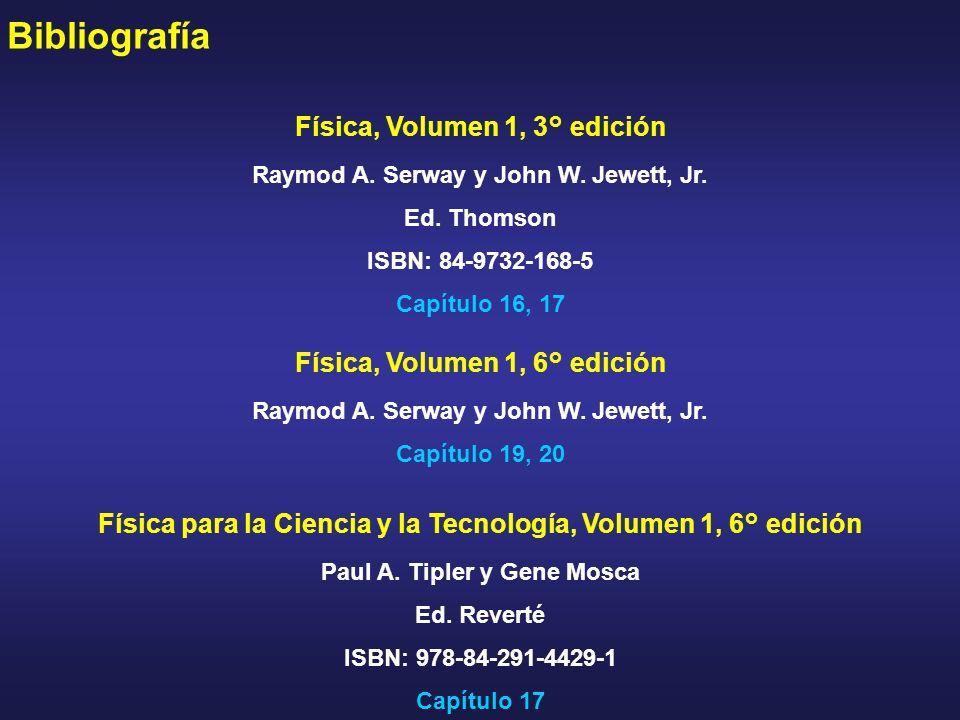 Bibliografía Física, Volumen 1, 3° edición Raymod A. Serway y John W. Jewett, Jr. Ed. Thomson ISBN: 84-9732-168-5 Capítulo 16, 17 Física, Volumen 1, 6