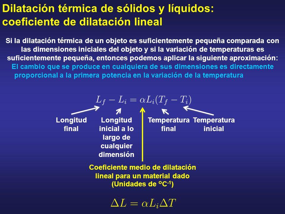 Dilatación térmica de sólidos y líquidos: coeficiente de dilatación lineal Si la dilatación térmica de un objeto es suficientemente pequeña comparada