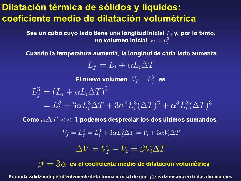 Dilatación térmica de sólidos y líquidos: coeficiente medio de dilatación volumétrica Cuando la temperatura aumenta, la longitud de cada lado aumenta