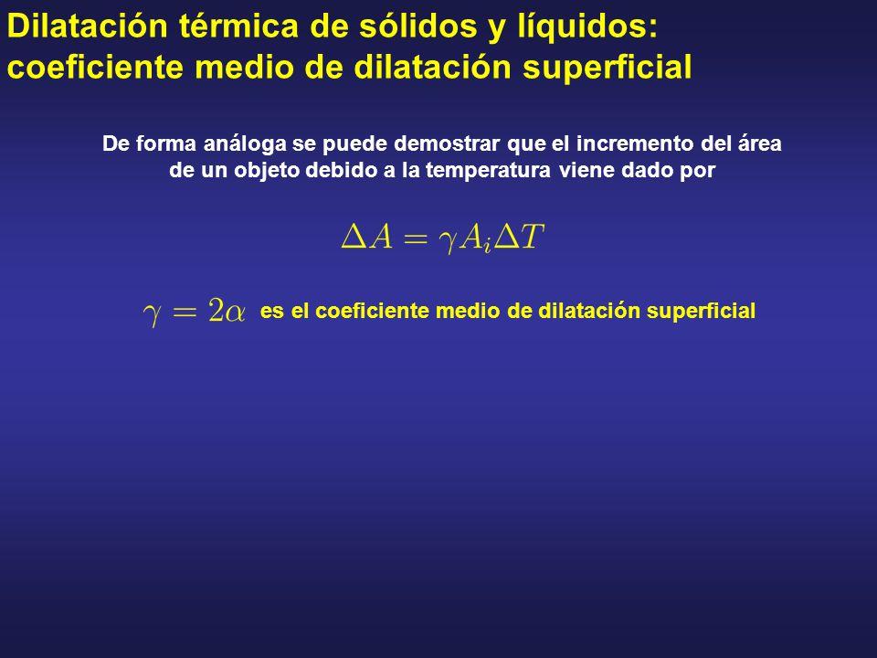 Dilatación térmica de sólidos y líquidos: coeficiente medio de dilatación superficial De forma análoga se puede demostrar que el incremento del área d