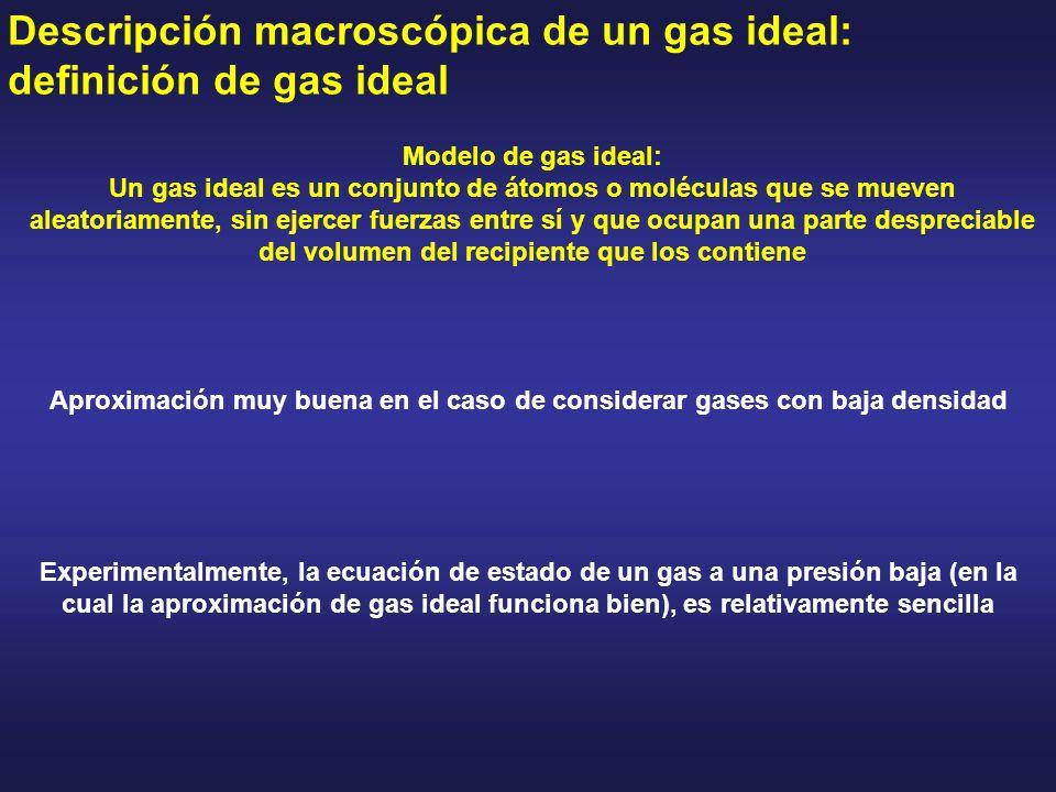 Descripción macroscópica de un gas ideal: definición de gas ideal Modelo de gas ideal: Un gas ideal es un conjunto de átomos o moléculas que se mueven