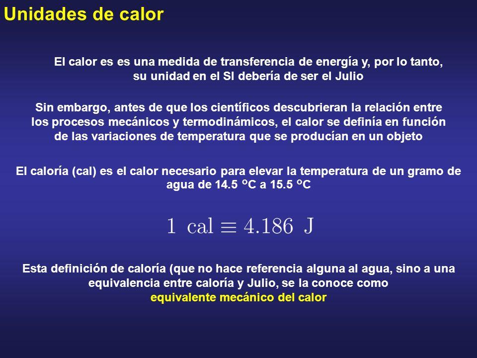 Unidades de calor El caloría (cal) es el calor necesario para elevar la temperatura de un gramo de agua de 14.5 °C a 15.5 °C El calor es es una medida