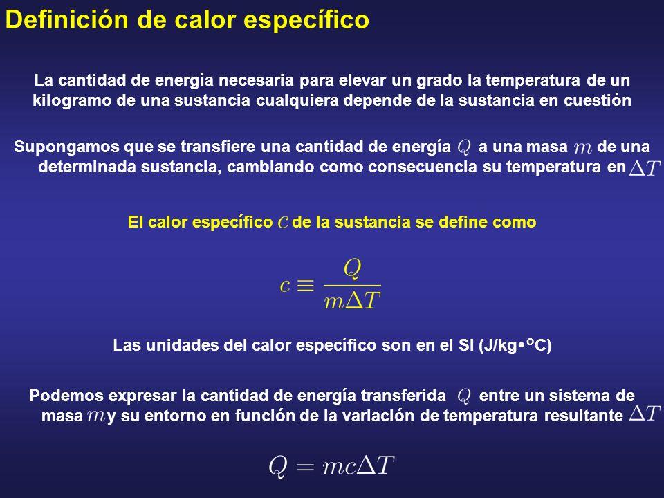 Definición de calor específico La cantidad de energía necesaria para elevar un grado la temperatura de un kilogramo de una sustancia cualquiera depend