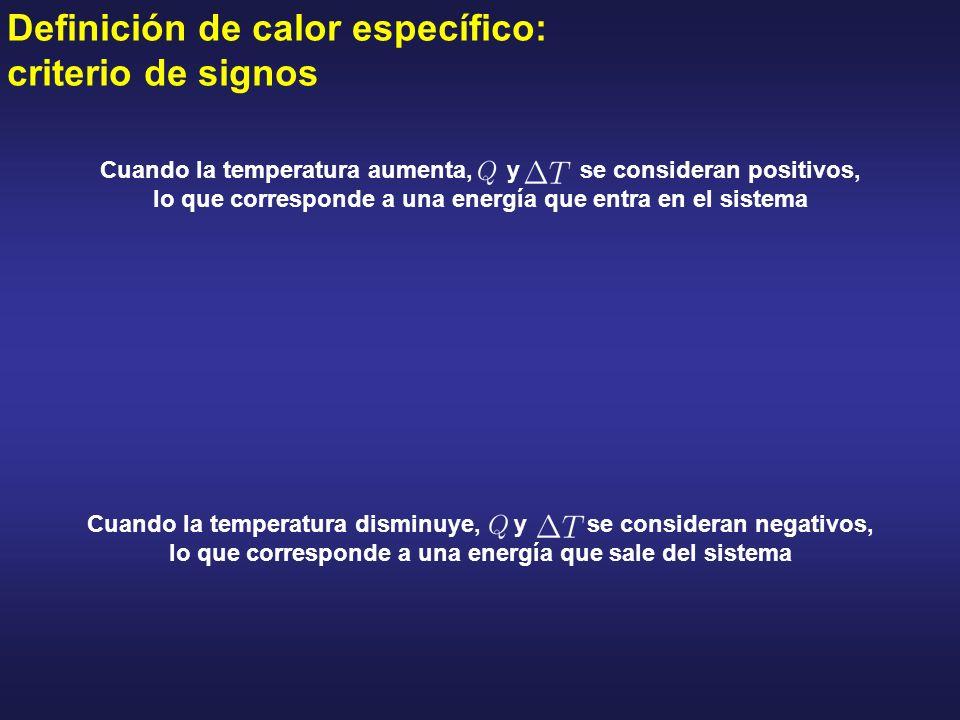 Definición de calor específico: criterio de signos Cuando la temperatura aumenta, y se consideran positivos, lo que corresponde a una energía que entr