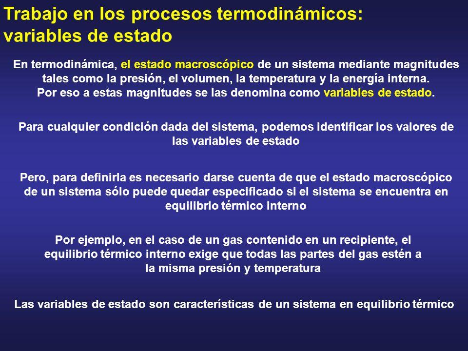 Trabajo en los procesos termodinámicos: variables de estado En termodinámica, el estado macroscópico de un sistema mediante magnitudes tales como la p