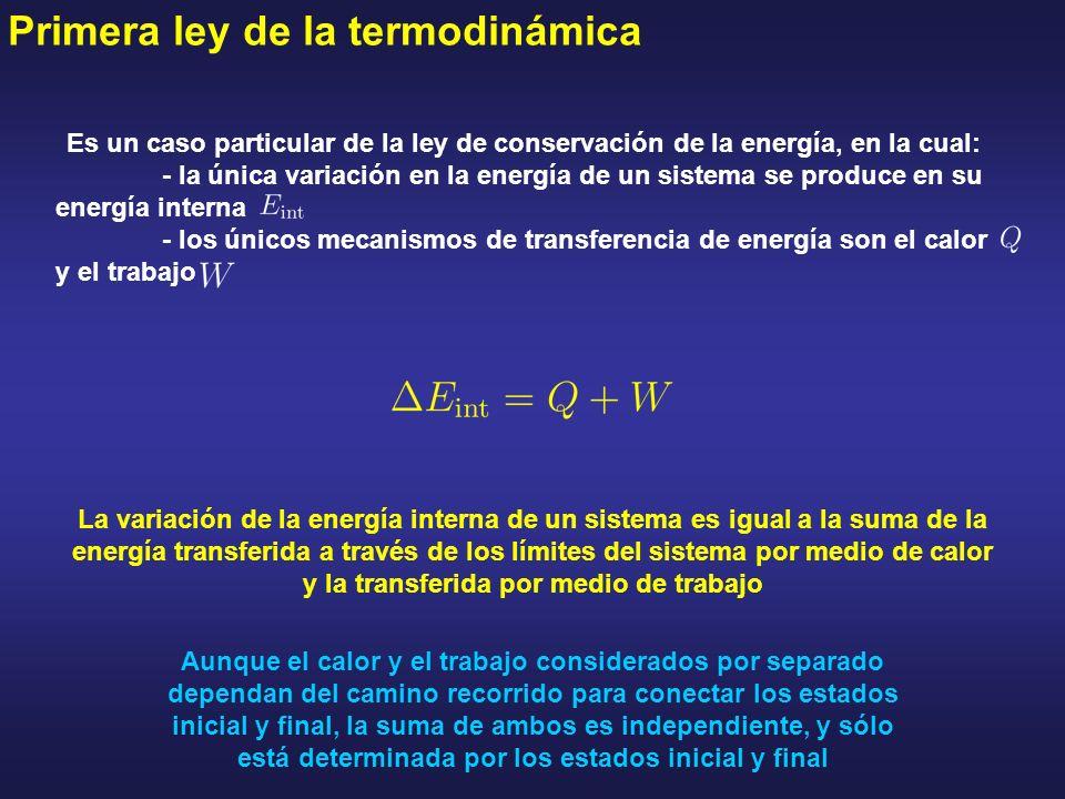 Primera ley de la termodinámica Es un caso particular de la ley de conservación de la energía, en la cual: - la única variación en la energía de un si