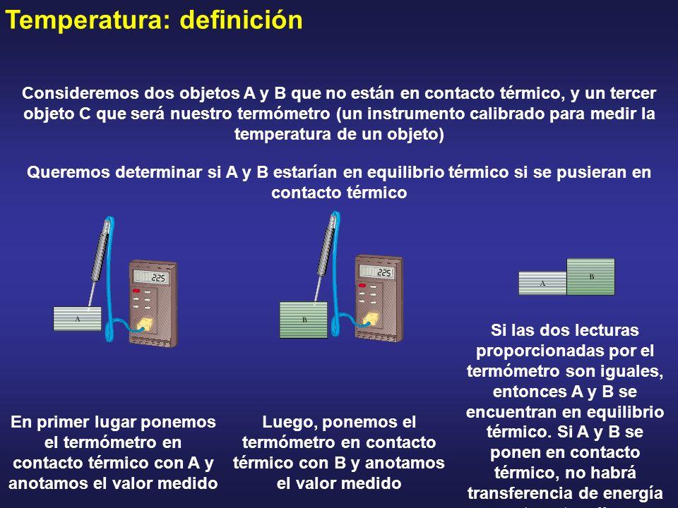 Temperatura: definición Consideremos dos objetos A y B que no están en contacto térmico, y un tercer objeto C que será nuestro termómetro (un instrume