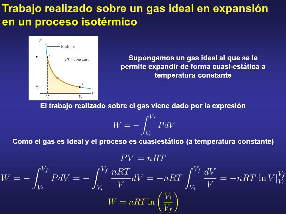 Trabajo realizado sobre un gas ideal en expansión en un proceso isotérmico El trabajo realizado sobre el gas viene dado por la expresión Como el gas e