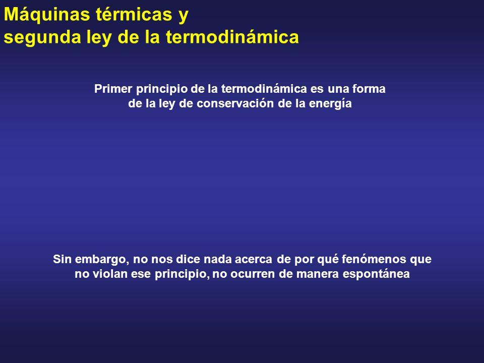 Máquinas térmicas y segunda ley de la termodinámica Primer principio de la termodinámica es una forma de la ley de conservación de la energía Sin emba