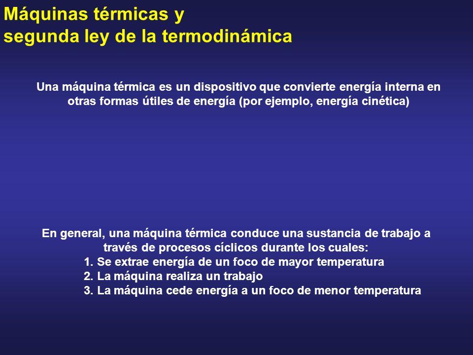 Máquinas térmicas y segunda ley de la termodinámica Una máquina térmica es un dispositivo que convierte energía interna en otras formas útiles de ener