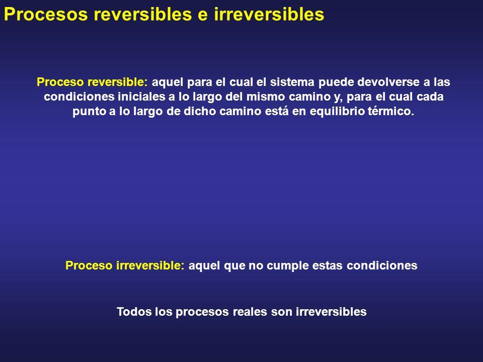 Procesos reversibles e irreversibles Proceso reversible: aquel para el cual el sistema puede devolverse a las condiciones iniciales a lo largo del mis