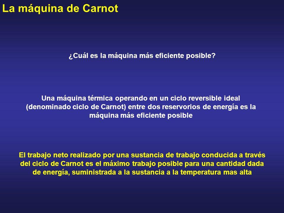 La máquina de Carnot El trabajo neto realizado por una sustancia de trabajo conducida a través del ciclo de Carnot es el máximo trabajo posible para u