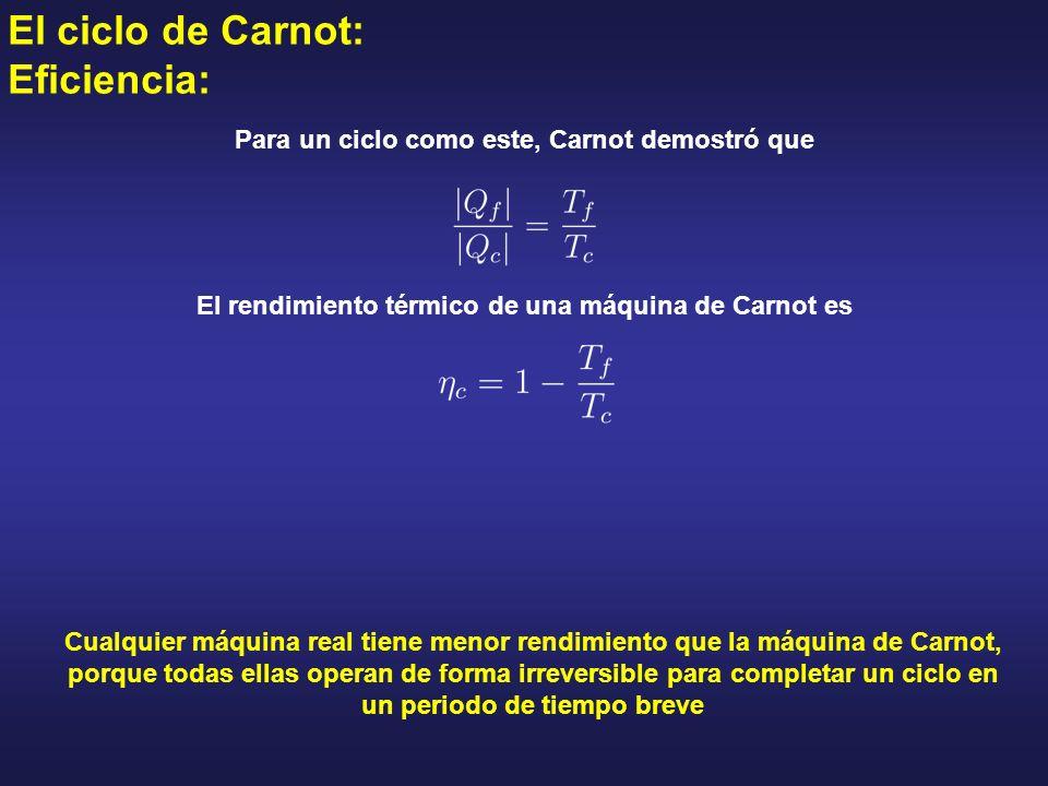 El ciclo de Carnot: Eficiencia: Cualquier máquina real tiene menor rendimiento que la máquina de Carnot, porque todas ellas operan de forma irreversib