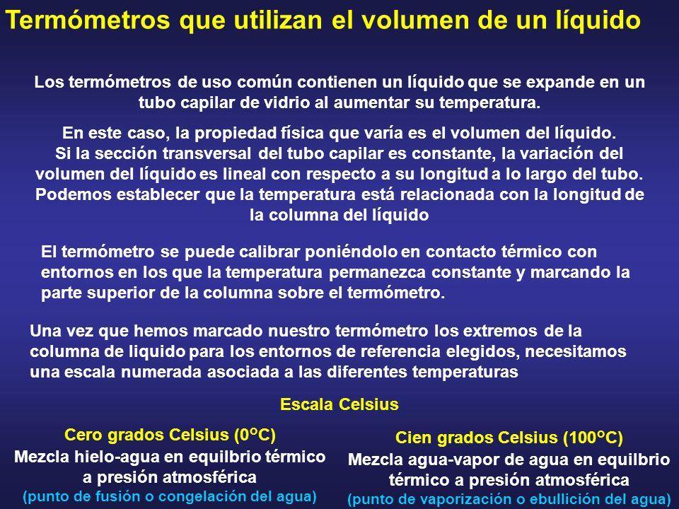 Termómetros que utilizan el volumen de un líquido Los termómetros de uso común contienen un líquido que se expande en un tubo capilar de vidrio al aum