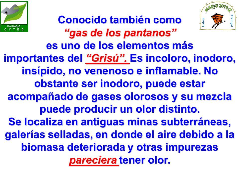 Conocido también como gas de los pantanos es uno de los elementos más importantes del Grisú.