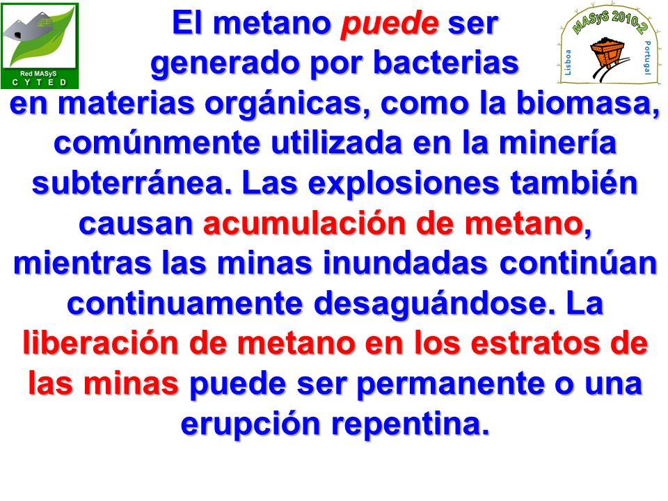 El metano puede ser generado por bacterias en materias orgánicas, como la biomasa, comúnmente utilizada en la minería subterránea.