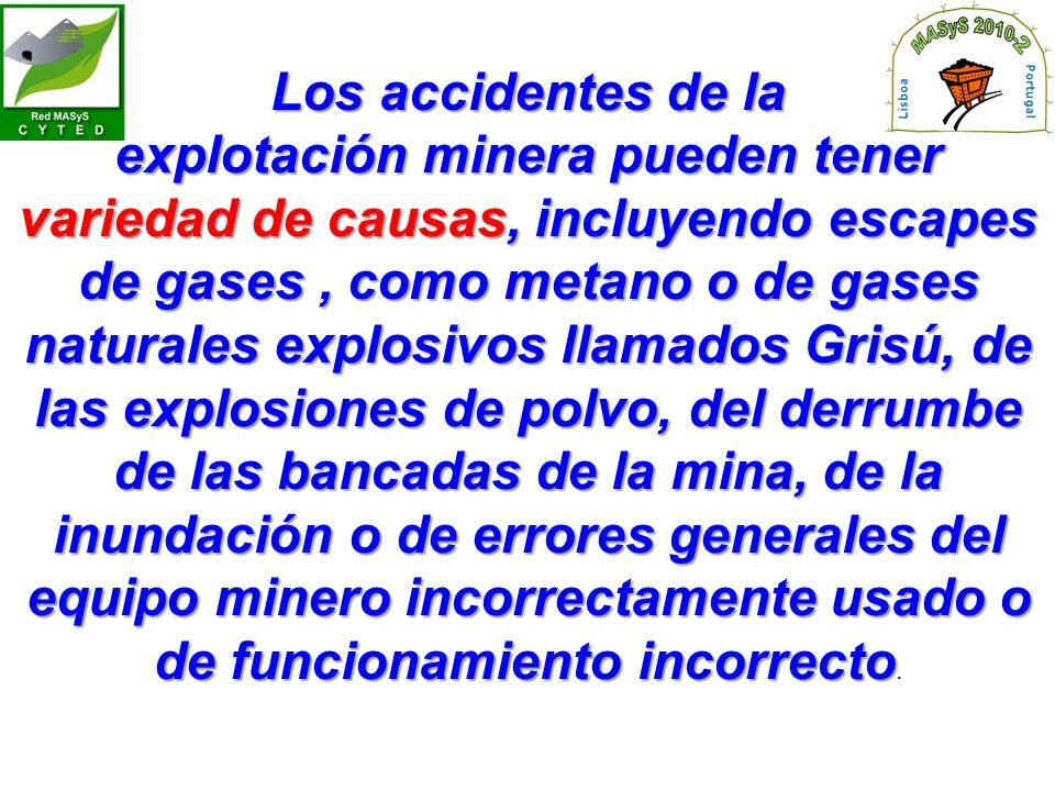 Los accidentes de la explotación minera pueden tener variedad de causas, incluyendo escapes de gases, como metano o de gases naturales explosivos llamados Grisú, de las explosiones de polvo, del derrumbe de las bancadas de la mina, de la inundación o de errores generales del equipo minero incorrectamente usado o de funcionamiento incorrecto explotación minera pueden tener variedad de causas, incluyendo escapes de gases, como metano o de gases naturales explosivos llamados Grisú, de las explosiones de polvo, del derrumbe de las bancadas de la mina, de la inundación o de errores generales del equipo minero incorrectamente usado o de funcionamiento incorrecto.