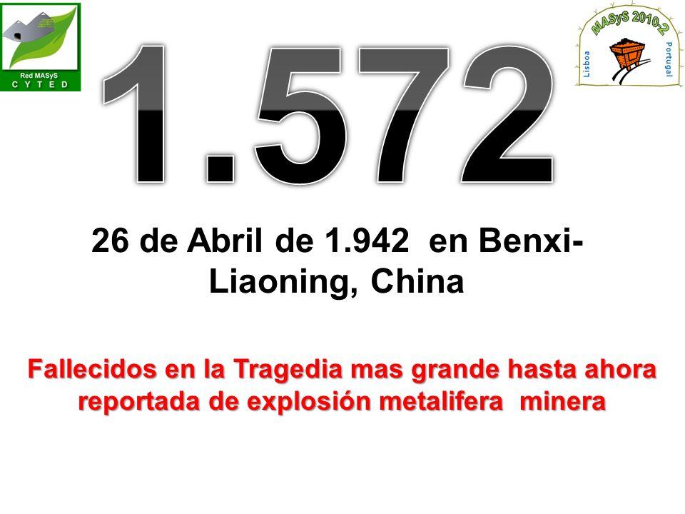 26 de Abril de 1.942 en Benxi- Liaoning, China Fallecidos en la Tragedia mas grande hasta ahora reportada de explosión metalifera minera