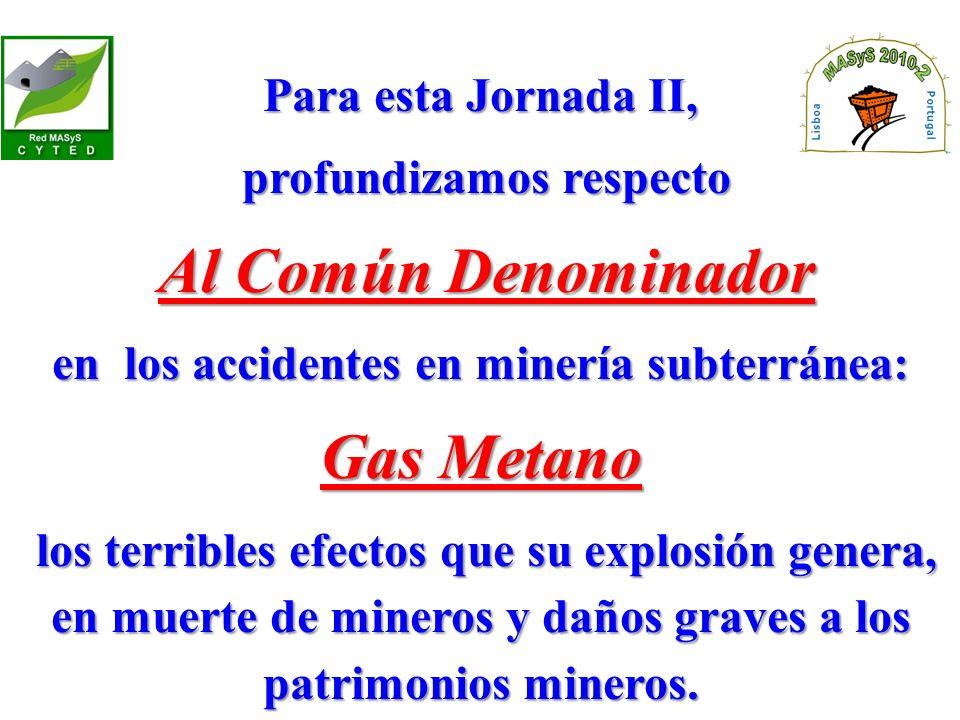 Para esta Jornada II, profundizamos respecto profundizamos respecto Al Común Denominador Al Común Denominador en los accidentes en minería subterránea: Gas Metano los terribles efectos que su explosión genera, en muerte de mineros y daños graves a los patrimonios mineros.
