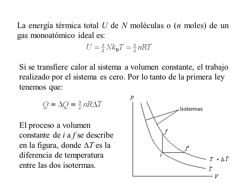 De la definición de calor específico dada antes obtenemos El cambio de energía interna de un gas ideal puede expresarse como: U = nC V T En el límite de cambios infinitesimales encontramos que el calor específico molar a volumen constante es igual a