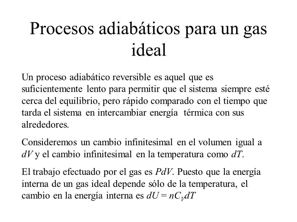 Por lo tanto la ecuación de la primera ley, se vuelve dU = nC V dT = - PdV Tomando la diferencial total de la ecuación de estado del gas ideal, PV = nRT, vemos que PdV + VdP = nRdT Eliminando dT de las dos ecuaciones PdV + VdP = -RPdV/C V De aquí es fácil llegar a