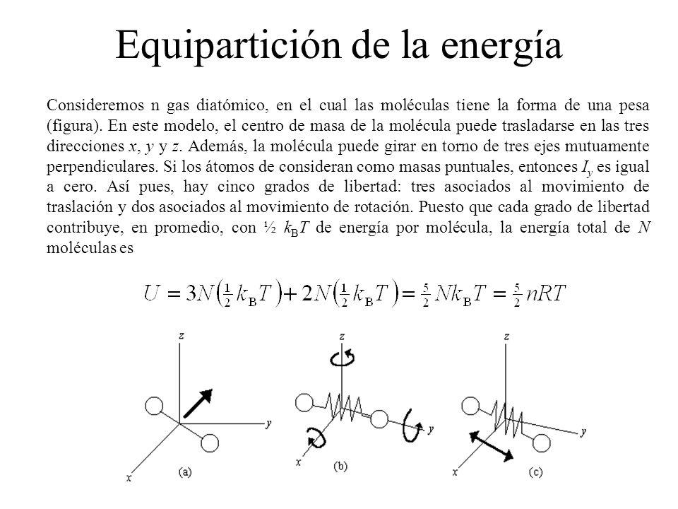 Podemos usar este resultado y la ecuación de C V para obtener el calor específico molar a volumen constante: De acuerdo con los resultados anteriores, encontramos que