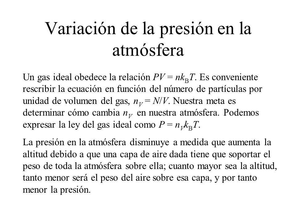 Si la masa de una molécula de gas en la capa es m, y hay un total de N moléculas en la capa, entonces el peso de la capa es w = mgN = mgn V V = mgn V Ady.