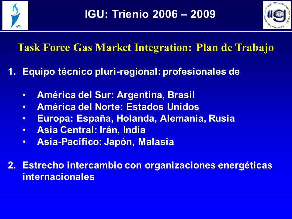 Task Force Gas Market Integration: Plan de Trabajo 1.Equipo técnico pluri-regional: profesionales de América del Sur: Argentina, Brasil América del No