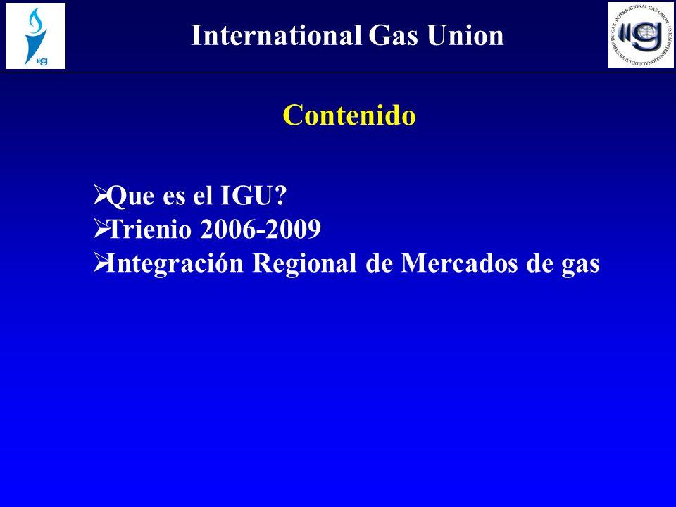 Contenido Que es el IGU? Trienio 2006-2009 Integración Regional de Mercados de gas International Gas Union