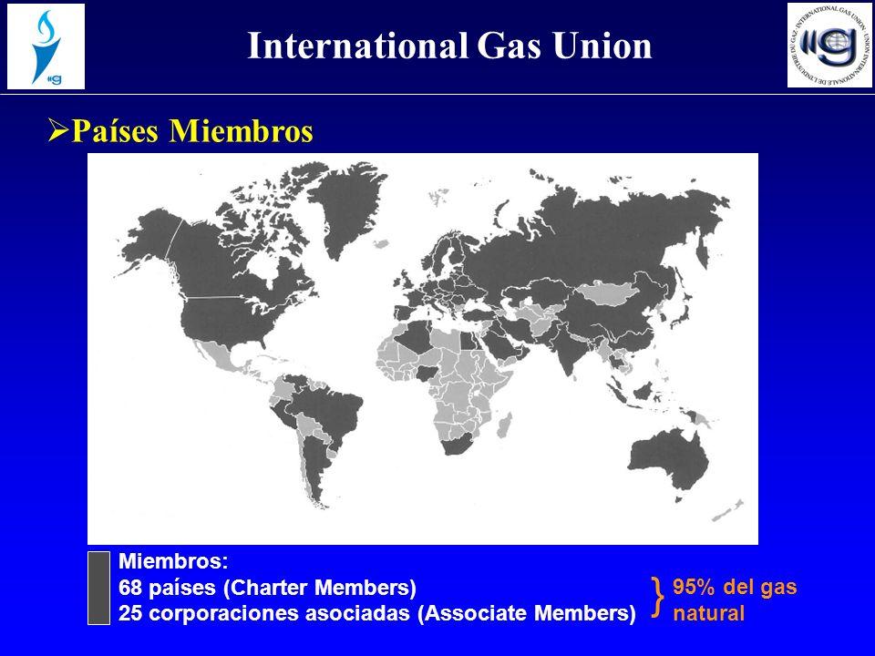 Miembros: 68 países (Charter Members) 25 corporaciones asociadas (Associate Members) Países Miembros International Gas Union } 95% del gas natural