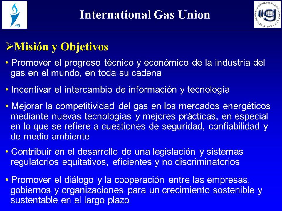 Promover el progreso técnico y económico de la industria del gas en el mundo, en toda su cadena Misión y Objetivos International Gas Union Incentivar