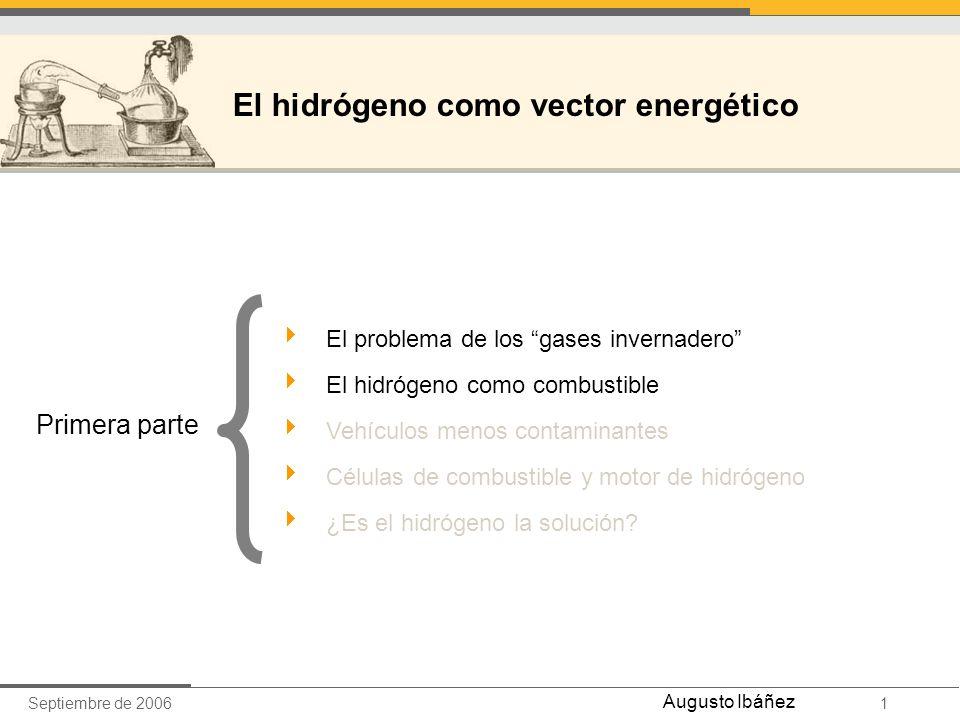 Septiembre de 20061 Augusto Ibáñez El problema de los gases invernadero El hidrógeno como combustible Vehículos menos contaminantes Células de combust